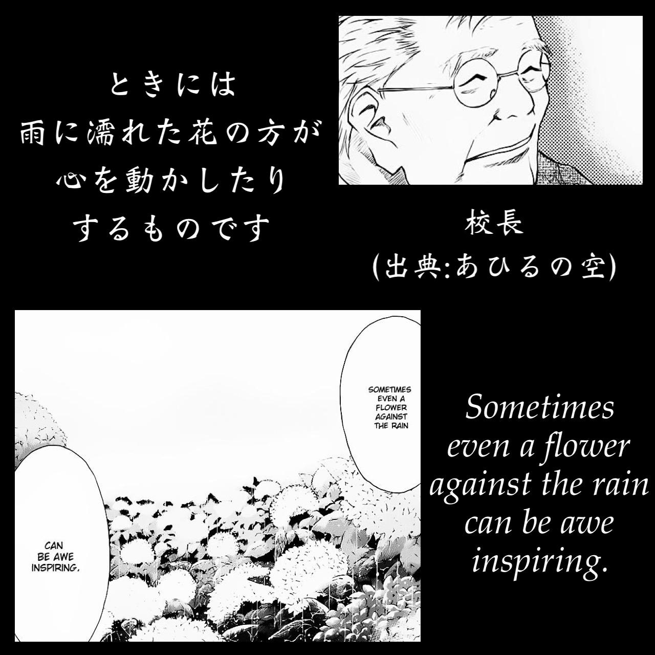 ときには雨に濡れた花の方が心を動かしたりするものです / 校長(出典:あひるの空)